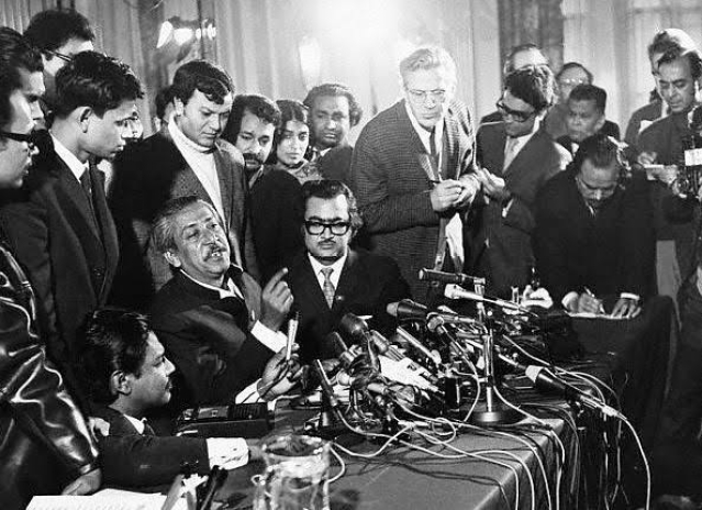 On 8 January 1972, Sheikh Mujibur Rahman attended a press conference in London, the UK, talking to the world media after his release from Pakistani prison.