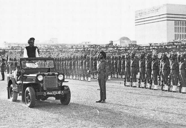 Independent Bangladesh's prime minister Sheikh Mujibur Rahman observes the exit parade of the Indian Army on 12 March 1972.