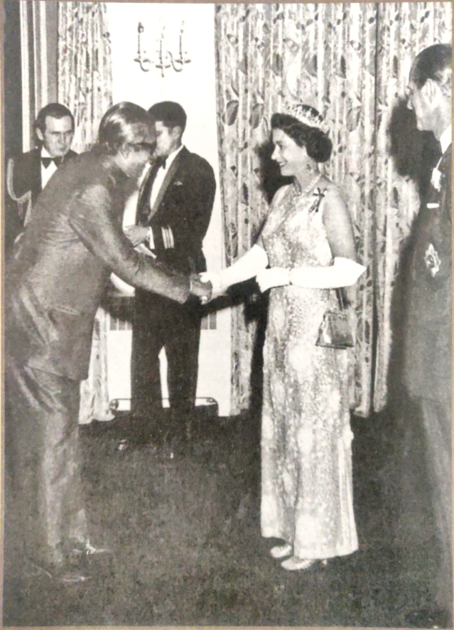 Sheikh Mujibur Rahman at Birmingham Palace with Queen Elizabeth the second and the Duke of Edinburgh in 1972.