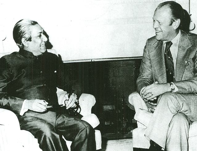 Sheikh Mujibur Rahman with the United States President Gerald Ford at the White House in 1974.