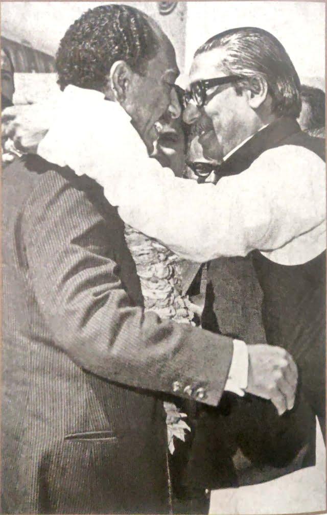 Sheikh Mujibur Rahman embracing Anowar Sadat, the President of Egypt in 1973.
