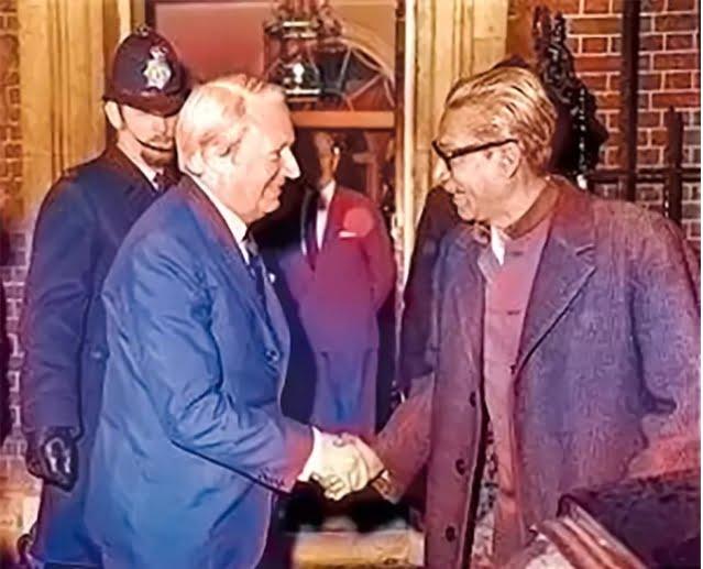 Sir Edward Richard George Heath, widely known as Ted Heath, former British politician prime minister, and Bangabandhu Sheikh Mujibur Rahman shook hand at 10 Downing Street on 8 January 1972.