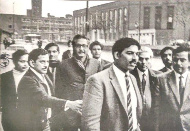 Sheikh Mujibur Rahman after the Birmingham public meeting on 8 January 1972.