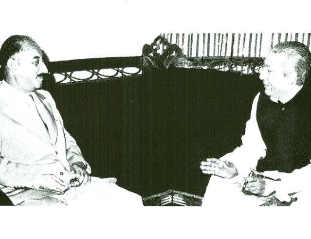 Sheikh Mujibur Rahman with Iraqi President Ahmed Hassan al-Bakr 8 October 1974.