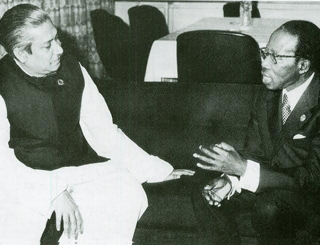 Sheikh Mujibur Rahman with Senegalese Poet President Léopold Sédar Senghor in May 1974.