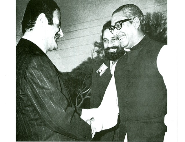 Sheikh Mujibur Rahman in conversation with Syrian president Hafiz al-Assad, Father of Bashar Al-Asad on 5 September 1973.